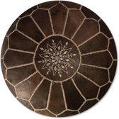 Leren Poef - Wood bruin - Handgemaakt en stijlvol - Gevuld geleverd