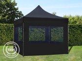Easy up Partytent met Aluminium frame en 4 panorama zijwanden - 3x3m - zwart - 100% Waterdicht - PVC coating - Opvouwbaar - Verstelbaar in 5 hoogtes - Inclusief gratis transporttas
