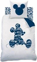 Disney Mickey Mouse Style - Dekbedovertrek - Eenpersoons - 140 x 200 cm - Wit