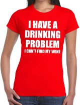 Drinking problem wine tekst t-shirt rood dames XL