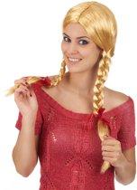 Blonde pruik met vlechten voor vrouwen - Verkleedpruik - One size