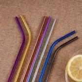 RVS Gekleurde Rietjes - Drinkrietjes - Feestjes - Partijen - Herbruikbaar - Duurzaam - 8 stuks - Kleuren