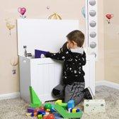 Stevige Houten Opbergkist Met Deksel - Speelgoedkist Met Zitbank - Storage Box Opbergbox Kist Voor Speelgoed Kleding Dekens & Kussens Opbergen - 76 x 48 x 40 cm