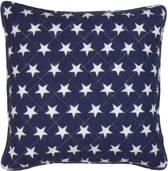 Clayre & Eef Kussen Hoes 40x40 cm blauw sterren Stars en Stripes