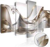 Afbeelding op acrylglas - Gouden vlucht, Goud/wit,   5luik