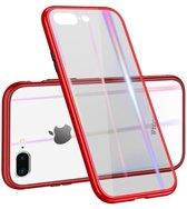Afneembaar Magnetisch Plastic frame + gehard glazen achterkant voor iPhone 8 Plus / 7 Plus- Rood