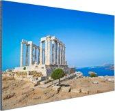 Poseidon tempel met een blauwe lucht Aluminium 60x40 cm - Foto print op Aluminium (metaal wanddecoratie)