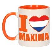 1x I love Maxima beker / mok - oranje met wit - 300 ml keramiek - oranje bekers