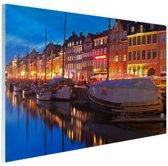 Avond in Kopenhagen Glas 90x60 cm - Foto print op Glas (Plexiglas wanddecoratie)