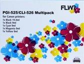 FLWR - Inktcartridge / Alternatief voor de Canon CLI-526 / Zwart / Kleur