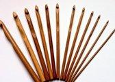 Haaknaalden set van 12 haaknaalden, bamboo Donker