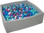 Ballenbak - stevige ballenbad - 120x120 cm - 1200 ballen - wit, blauw, roze, grijs, turquoise.