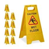 "relaxdays 10 x waarschuwingsbord ""Caution Wet Floor"" - klapbaar - gladde vloer bord - geel"