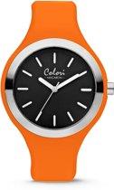 Colori Macaron 5 COL587 Horloge - Siliconen Band - Ø 44 mm - Oranje / Zwart
