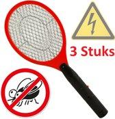 3X Elektrische Vliegenmepper - Jumbo Elektronische Hand Vliegenvanger - Anti Vliegen Doder Wespenvanger - Muggenvanger