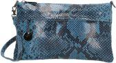 Charm Elisa leren Clutch-Schoudertasje - Snake Jeans Blauw