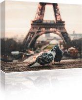 Sound Art - Canvas + Bluetooth Speaker Pigeons And Eiffel Tower (23 x 28cm)