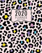 2020 Planner Weekly And Monthly: 2020 planner January To December - Calendar Views And Vision Board - Cute Mint And Pastel Colors Animal Print Pattern