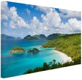 Caribische eilanden en stranden Canvas 120x80 cm - Foto print op Canvas schilderij (Wanddecoratie woonkamer / slaapkamer)