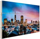 Skyline bij nacht Hout 120x80 cm - Foto print op Hout (Wanddecoratie)