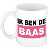 Ik ben de baas mok / beker - roze - 300 ml - keramiek - dames