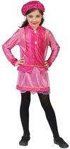 Roze roetveeg Piet kostuum geel met paars voor kinderen 128 (7 jaar)