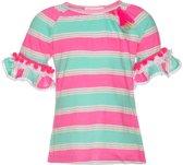 Mim-pi Meisjes T-shirt - mint groen met roze - Maat 128