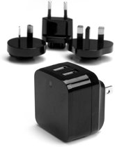 StarTech.com 2-poorts USB-lader hoog vermogen (17 W / 3,4 A) reislader (internationaal) zwart