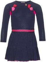 Mim-pi Meisjes Jurk - Blauw met roze - Maat 128