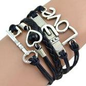 Fako Bijoux® - Multi Armband - Sleutel Hart Gesp Love - Zwart