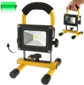 10W draagbare LED schijnwerper  waterdichte oplaadbare LED Floodlight met beugel  DC 12/24V(Yellow)