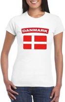 T-shirt met Deense vlag wit dames L