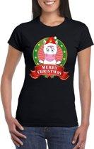 Eenhoorn Kerst t-shirt zwart Merry Christmas voor dames - Kerst shirts S