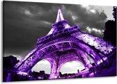 Canvas schilderij Eiffeltoren | Paars, Zwart, Grijs | 140x90cm 1Luik