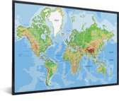 Wereldkaart wanddecoratie in lijst zwart 40x30 cm
