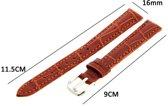 Horlogeband - Echt Leer - 16mm Licht Bruin - Sarzor