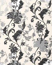Bloemen behang EDEM 833-22 deluxe artistiek floral motief bloemetjesbehang zwart wit zilver cremekleurig 70 cm