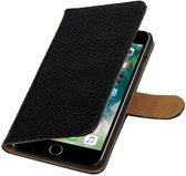 Zwart Slang booktype wallet cover hoesje voor Apple iPhone 6 Plus / 6s Plus