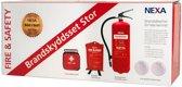 NEXA BK-13496, Brand bescherming set groot, 1x Brandblusser 6kg 43A 233BC, 2x Optische Brandalarm, 1x Brandblusser 120x120, 1x EHBO-doos, Rood