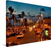 Straat bij itapuastrand in Salvador in Brazilië Canvas 90x60 cm - Foto print op Canvas schilderij (Wanddecoratie woonkamer / slaapkamer)