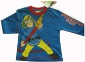 Helderblauw shirt van Brandweerman Sam maat 110/116