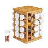 relaxdays XXL kruidencarrousel bamboe - 32 potjes - kruidenrek - draaibaar - hout bruin