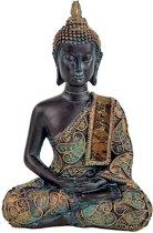 Boeddha in Meditatie antieke finish Thailand (10x6x15 cm)
