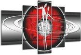 Glasschilderij Modern | Rood, Grijs, Zwart | 170x100cm 5Luik | Foto print op Glas |  F004889