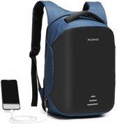 Kono Rugzak - Laptoptas inclusief USB Oplaadstation - 20 L Rugtas voor Mannen/Vrouwen - Waterdichte en Anti Diefstal Backpack - Tas voor School/Werk/Reizen - Blauw (E1946 NY)