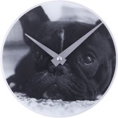 NeXtime Little Dog - Klok - Rond - Glas - Ø20 cm - Zwart