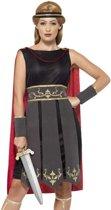 Roman Warrior Costume Black with Dress Attached Cape Arm Cuffs & Headband