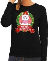 Foute kersttrui / sweater eenhoorn - zwart - Merry Christmas voor dames M (38)
