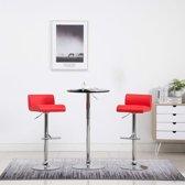 Barstoelen kunstleer rood 2 st