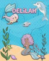 Handwriting Practice 120 Page Mermaid Pals Book Delilah